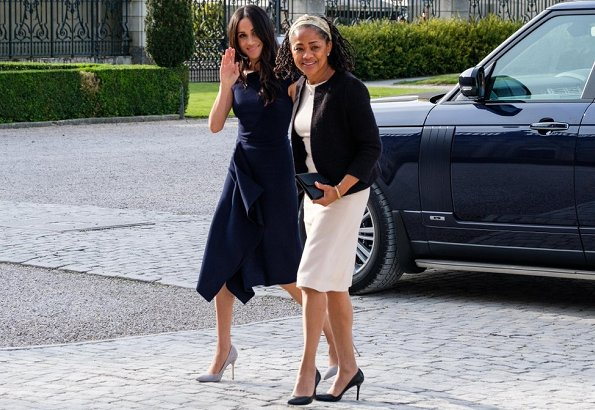 Meghan Markle is wearing Roland Mouret's Barwick dress and Manolo Blahnik shoes