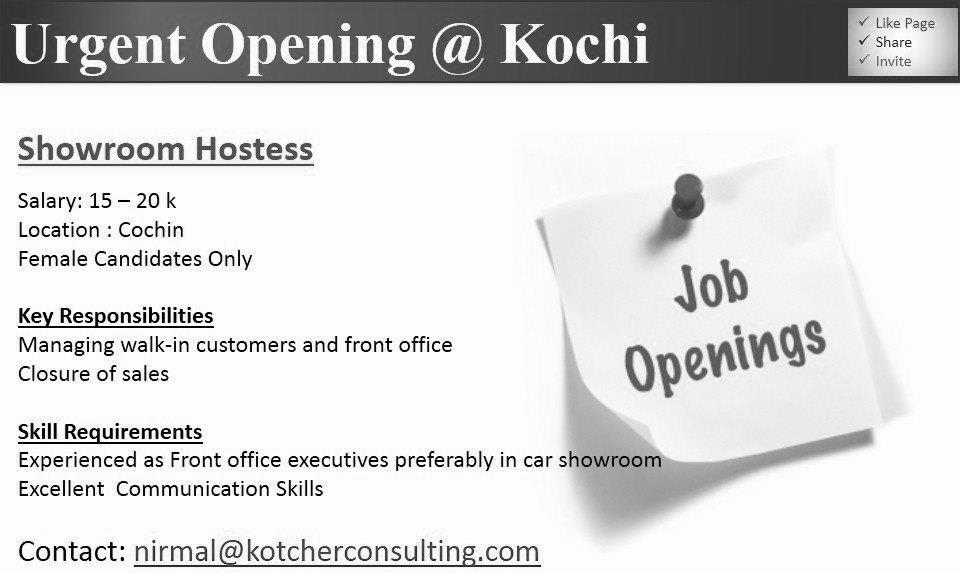 urgent job opening @ kochi - gulf jobs for malayalees