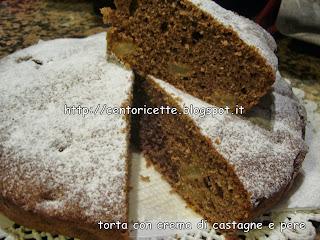 Torta con crema di castagne e pere