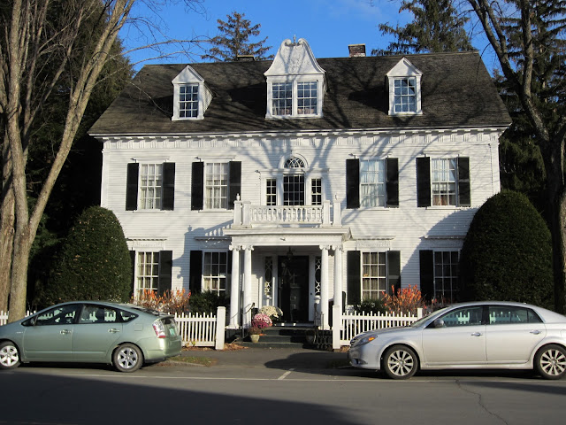White Home with Black Shutters - classic New England architecture