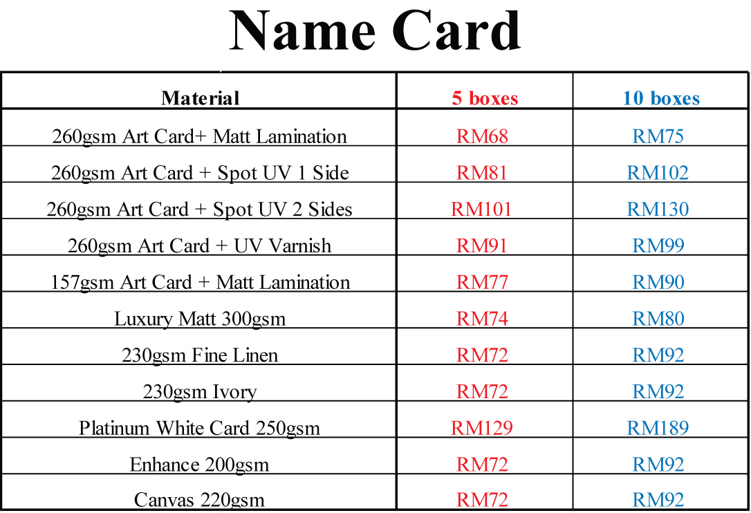 Business Card Name Price List