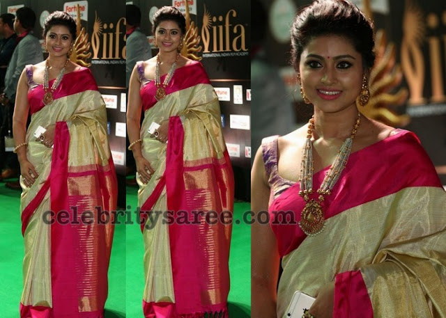 Sneha in Off White Pink Saree