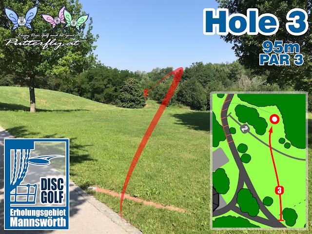 Hole 3 Disc Golf Parcours Erholungsgebiet Mannswörth - Schwechat