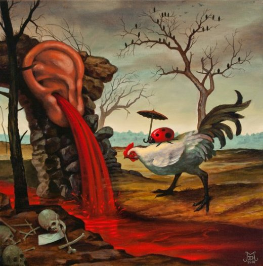 Mike Davis pinturas surreais sombrias estilo renascentistas moderno morte rural renascentismo