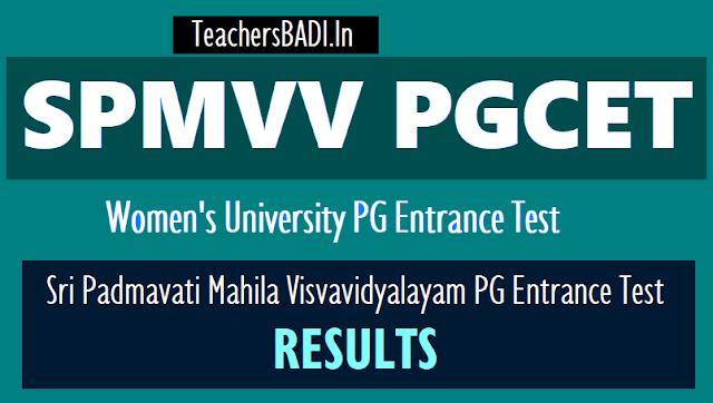 spmvv pgcet 2019 results,women's university pg entrance test 2019 results,spmvv pg entrance 2019 rank cards,results,spmvvdoa.in pgcet results,rank cards 2019
