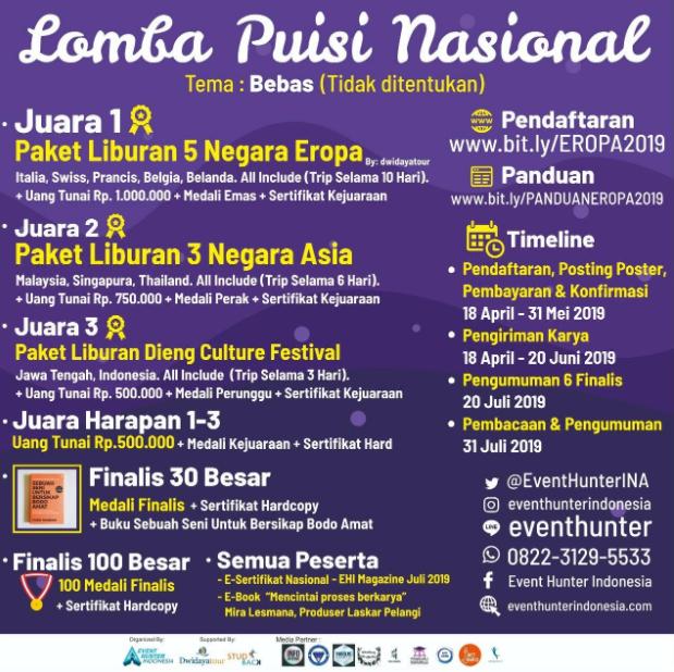 Lomba Menulis Puisi Nasional 2019 dari Event Hunter Indonesia