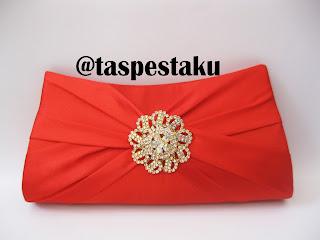 Tas Pesta Merah Bross Cantik dan Unik Mewah Elegant