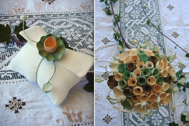 bouquet, segnaposto e boutonniere di fiori di carta. Matrimonio green in stile botanico