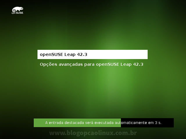 Tela do GRUB, mostrando o openSUSE Leap 42.3