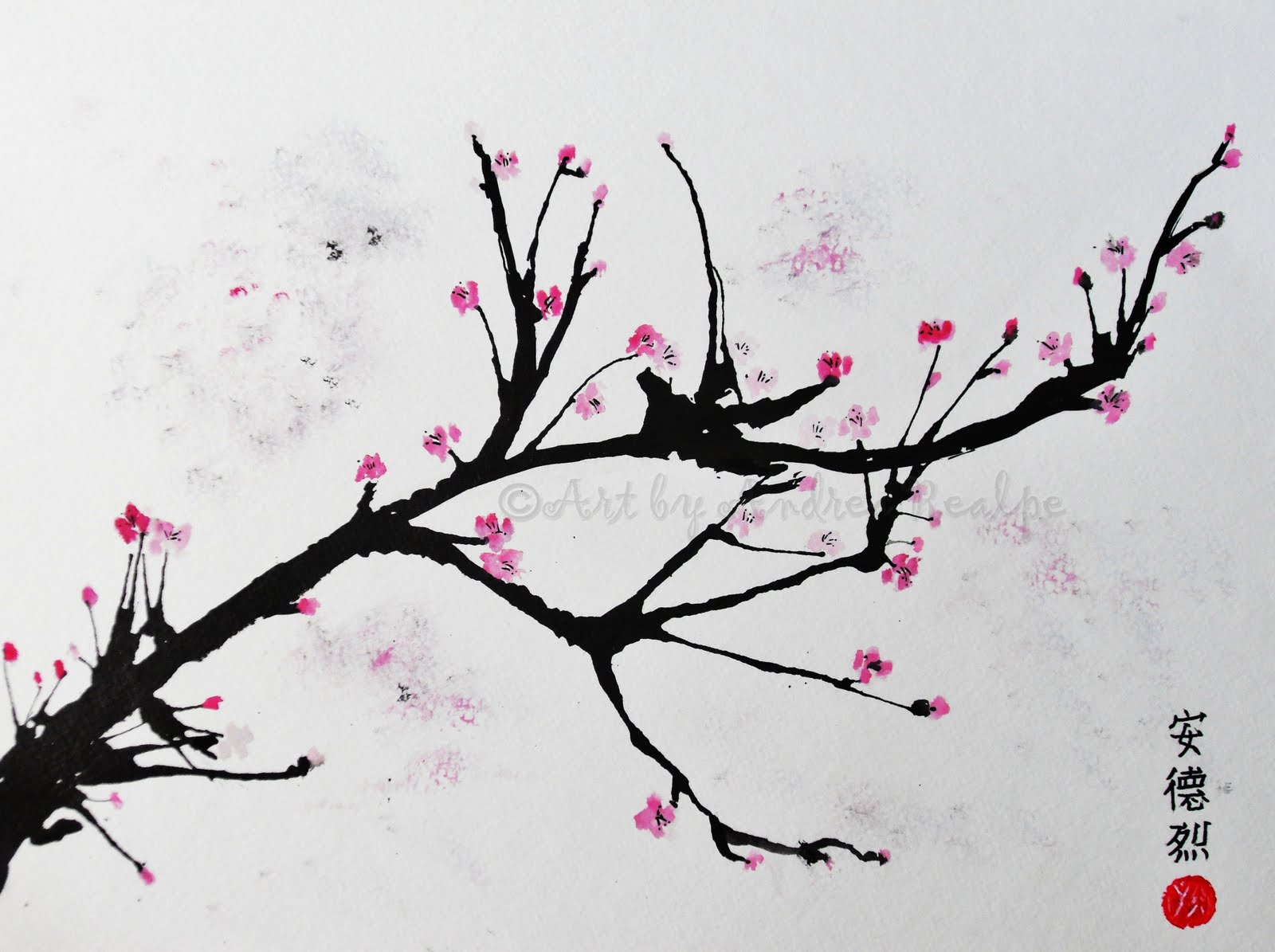 Andrea Realpe: Cherry Blossom Painting