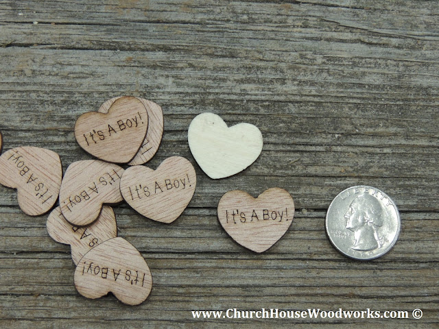 It's A Boy Wood Heart Confetti For Baby Showers- Rustic Baby Shower Ideas