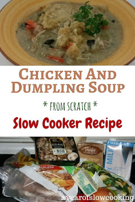 This is a completely from scratch gluten free Chicken and Dumpling soup recipe. If you'd prefer to use canned or packaged ingredients you can, simply swap out the ingredients as you see fit. Enjoy!! from ayearofslowcooking.com