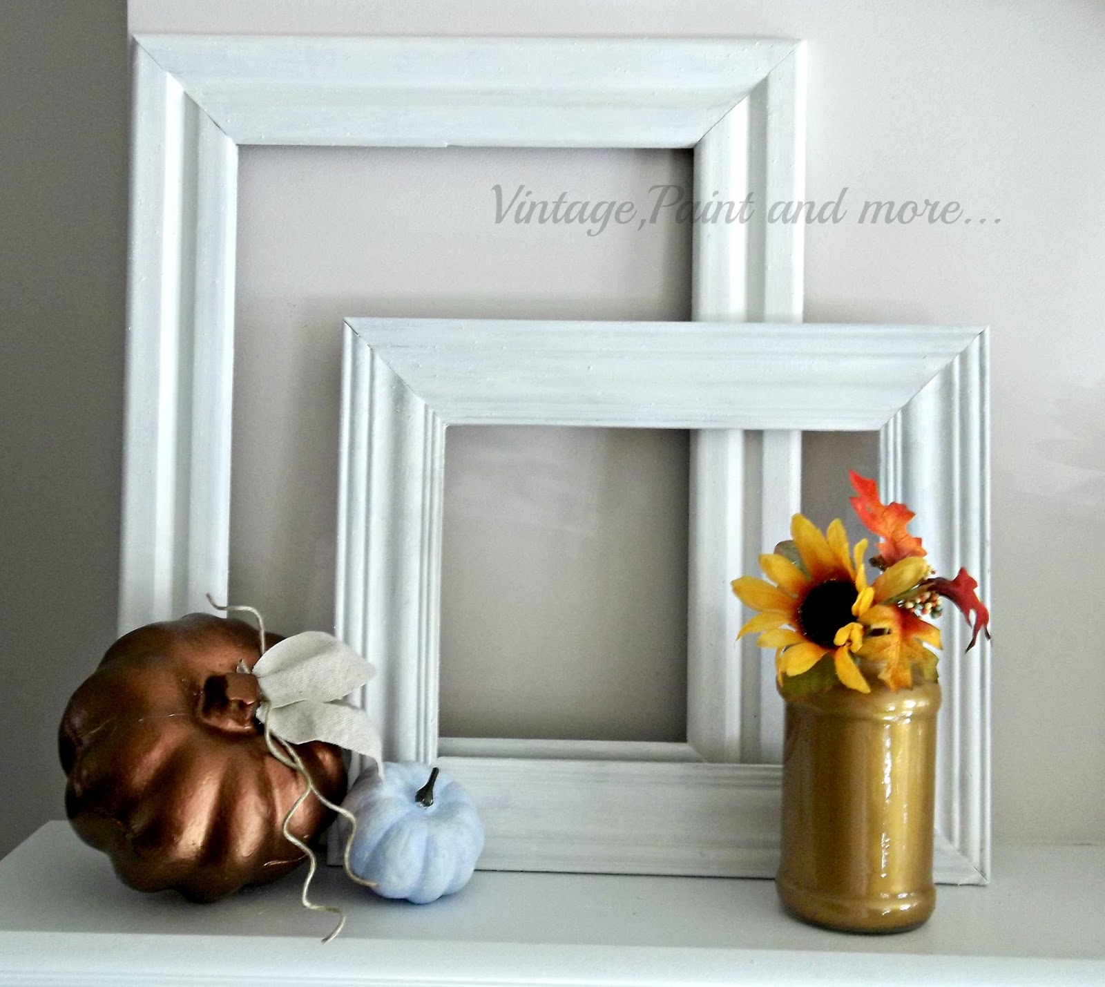 Vintage, Paint and more... painted pumpkins with metallic craft paing