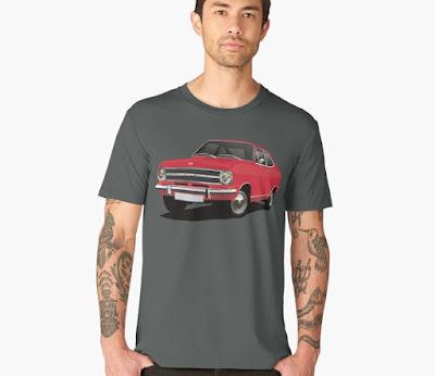 Opel Kadett B coupe t-paita punainen