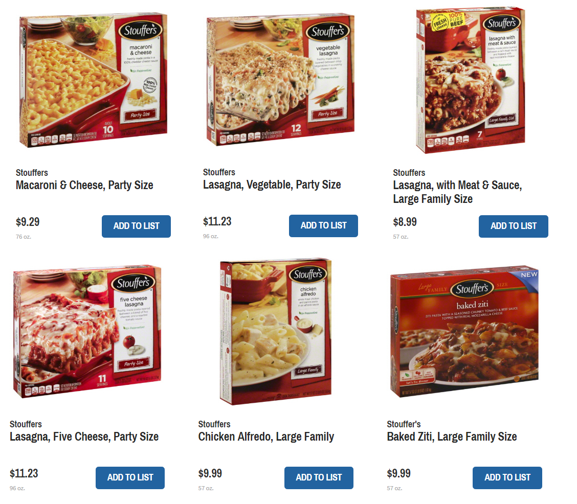 photo regarding Stouffer Coupons Printable called Conserve upon Stouffers Spouse and children or Occasion Entrees with Refreshing Discount coupons