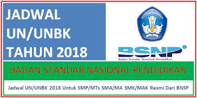 Jadwal UN/UNBK 2018 Untuk SMP/MTs SMA/MA SMK/MAK BNSP