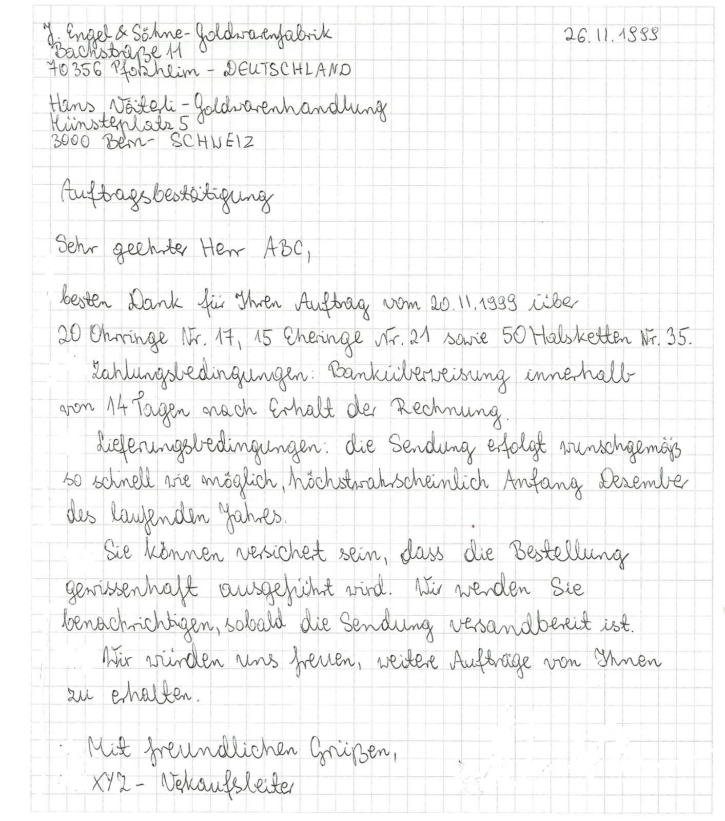 aspekte der germanistik bestellung und auftragsbest tigung beispiele. Black Bedroom Furniture Sets. Home Design Ideas
