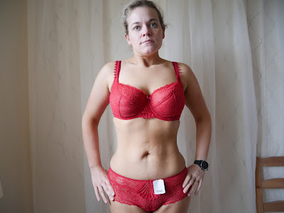 Woman in luxury red underwear