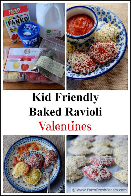 Heart-shaped cheese-filled ravioli dipped in a tangy sauce and coated with seasoned breadcrumbs, then baked. Serve with sauce to dunk and you've got a kid friendly vegetarian Valentine's day meal.