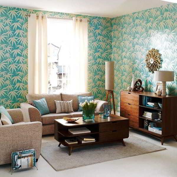 Contoh Desain Ruang Tamu dengan Wallpaper Dinding Biru