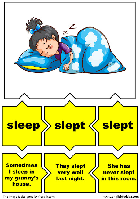 esl irregular verbs flashcards, verb sleep