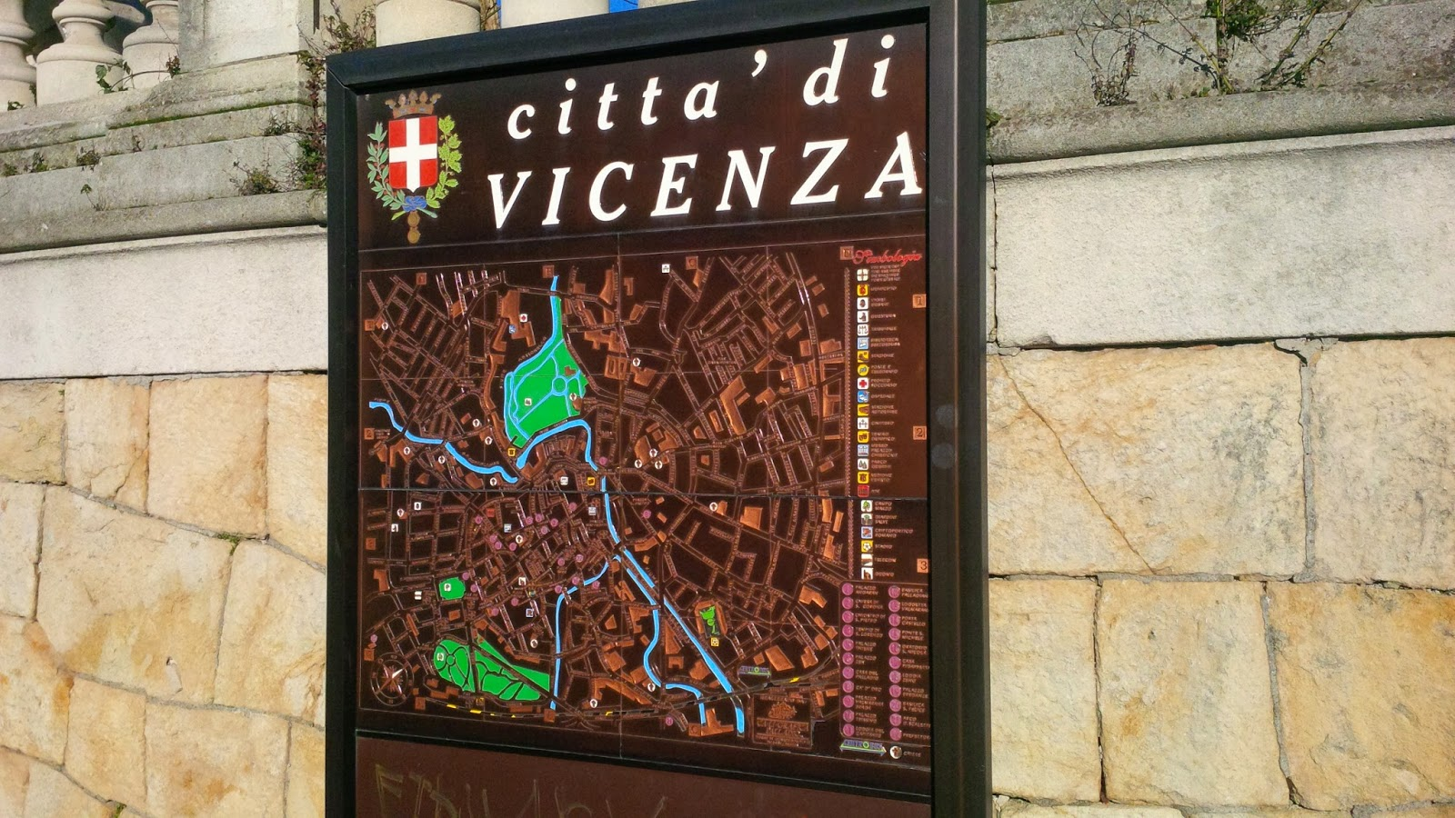 A map of the city of Vicenza in Northern Italy