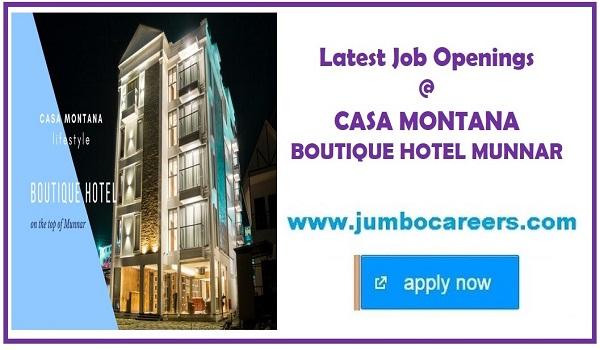 munnar hotel jobs, latest munnar hotel jobs, star hotel jobs munnar
