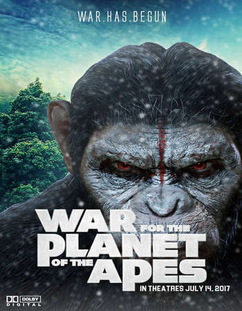 Poster Of Free Download War for the Planet of the Apes 2017 300MB Full Movie Hindi Dubbed 720P Bluray HD HEVC Small Size Pc Movie Only At worldfree4u.com