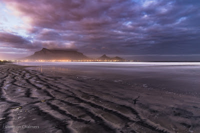 Copyright Vernon Chalmers: Table Mountain / Cape Town - Long Exposure over Milnerton Beach / Table Bay