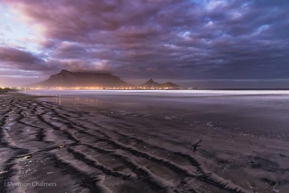 Copyright Vernon Chalmers: Table Mountain / Cape Town - Long Exposure over Milnerton Beach / Table Bay