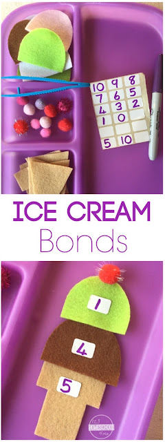 Ice Cream Number Bonds - this is such a fun, clever, hands on math activity to help preschool, prek, kindergarten, first grade, and second grade kids start to grasp number bonds (addition, subtraction). Fun for summer learning, math centers, and homeschooling.