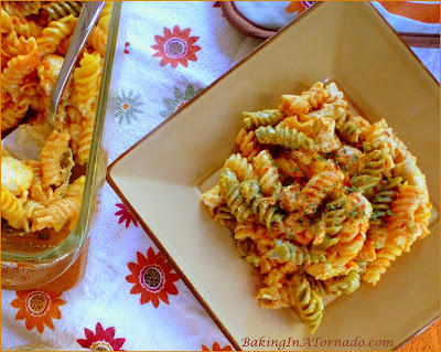 Vegetable Rotini with Chicken in Pumpkin Cream Sauce, a Fall dinner casserole with a hint of pumpkin | Recipe developed by www.BakingInATornado.com | #recipe #dinner