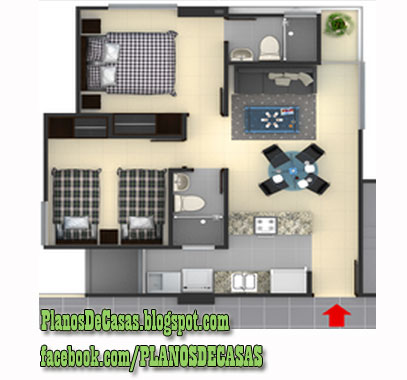 Plano de departamento peque o 30 m2 planos de casas for Pisos para departamentos pequenos