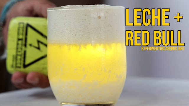 experimento, mezcla, leche, Red Bull, ciencia