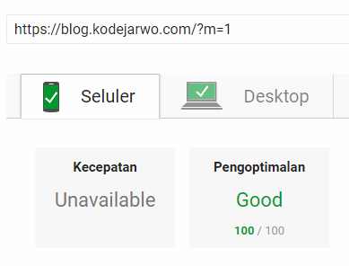 Skor PageSpeed Insights Blog Kode Jarwo