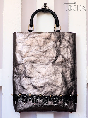 bag, cruelty-free, damask, handcrafted, lace, paper bag, papierdoprania, pearls, pewter, Swarovski, top handle bag, vegan leather, washable paper, washpapa, paper bag
