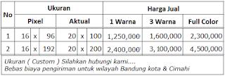 Gambar daftar ukuran dan harga runningtext