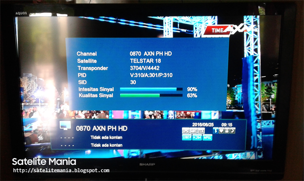 Channel AXN HD di Satelite Telstar 18