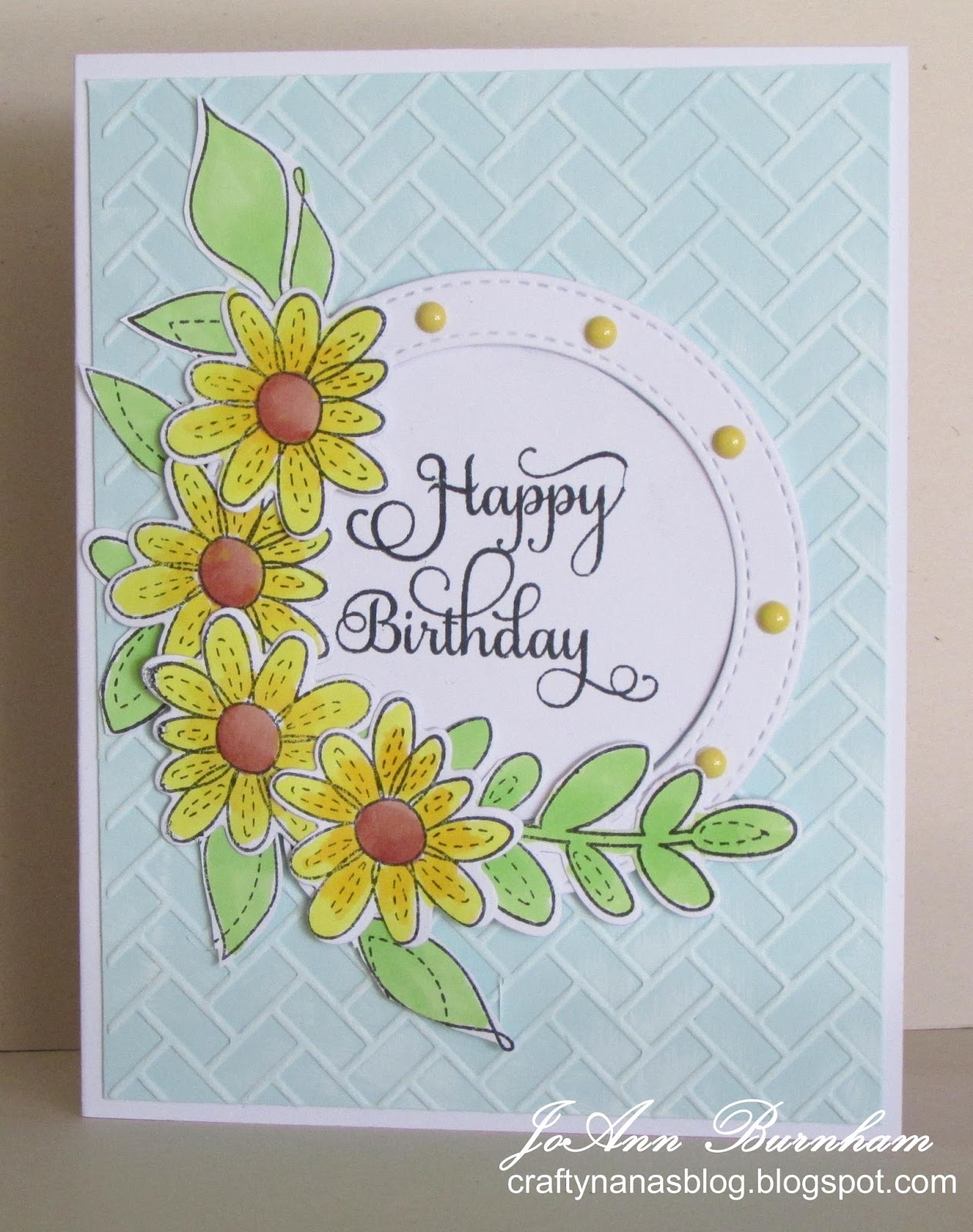 Crafty nanas blog happy birthday i used simon says stamp more spring flowers stamps and matching dies and also spring flowers for a couple of the leaves i colored them with promarkers and izmirmasajfo Image collections