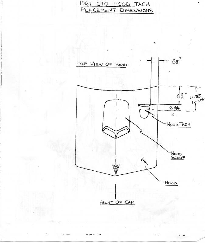 1967 Pontiac GTO hood tach Diagram and positioning Template