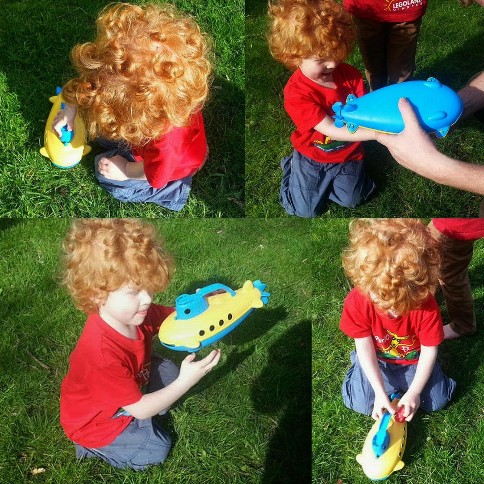 Green toys recycled plastic submarine play in garden