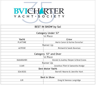 Winners at the 2016 CYS BVI Charter Yacht Society Best in Show Competition