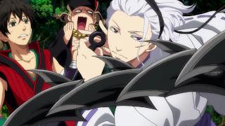 Soramaru i Chutaro ochraniani przez Shirasu Kinjou, jednego z bohaterów anime Śmiech w chmurach