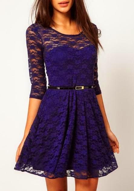 Dark Blue Belt Collarless Seven's Sleeve Lace Dress