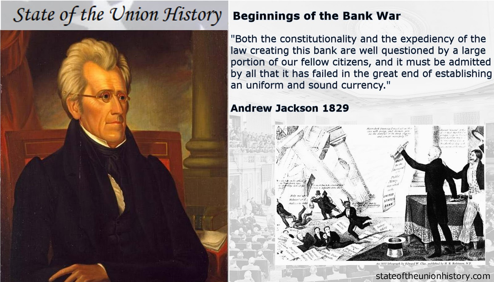 1829 Andrew Jackson Beginnings Of The Bank War State Of The Union History