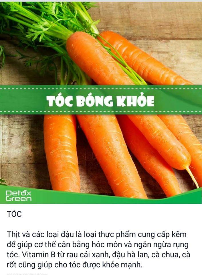 Cà chua, cà rốt giúp tóc khỏe mạnh