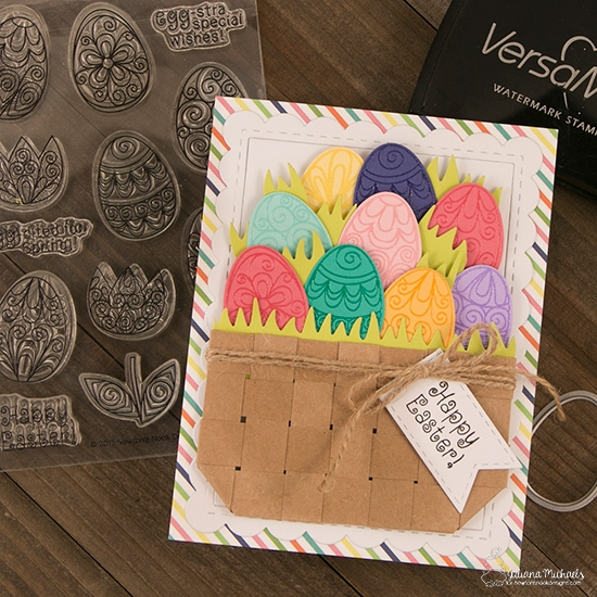 Easter Basket Card by Juliana Michaels   Beautiful Spring Stamp Set by Newton's Nook Designs #newtonsnook