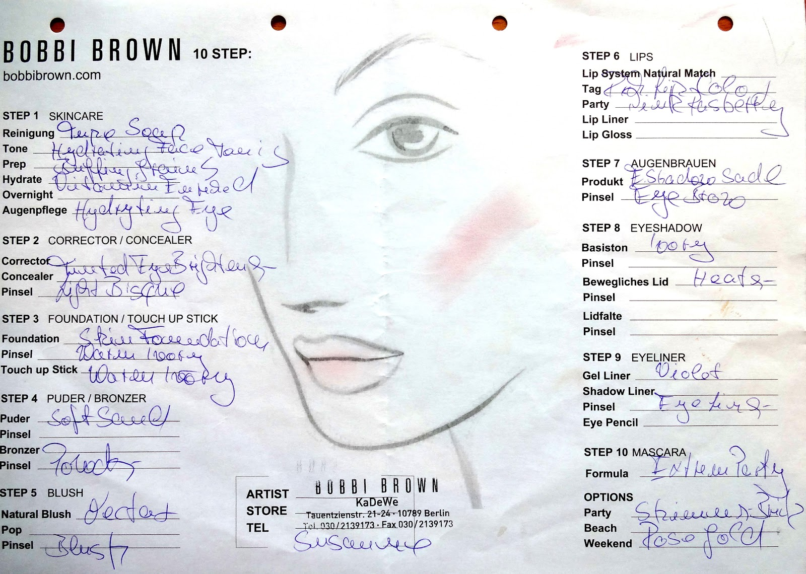 Bobbi Brown Face Chart KaDeWe