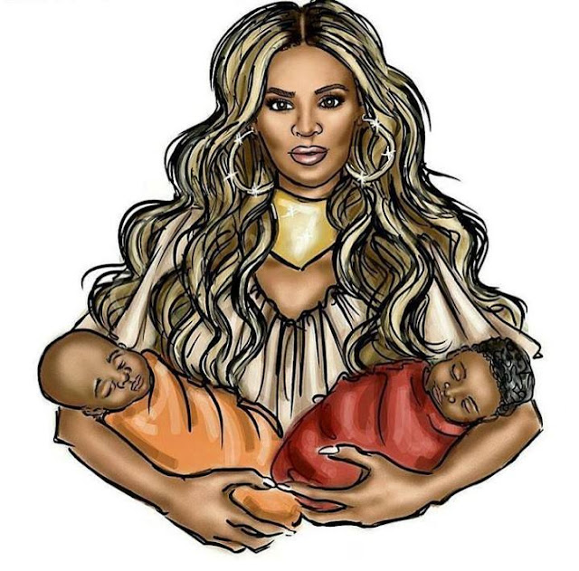 A fanmade picture of imaginary picture of Beyonce and her twins