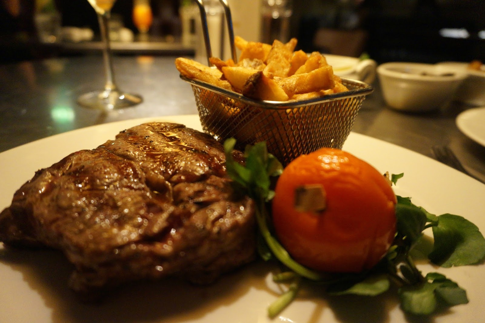 close up of steak with chips